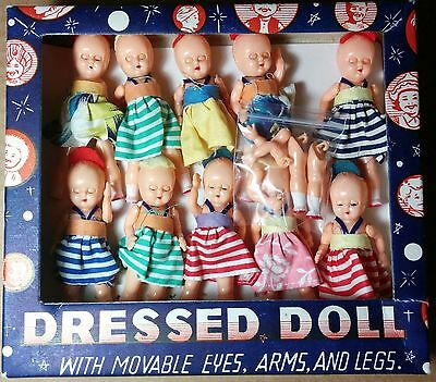 """Vintage 1950s Dime Store Hong Kong Dressed Baby Dolls lot of 10 celluloid 4"""" TLC"""