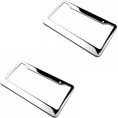 2 pcs Silver Stainless Steel Metal License Plate Frames Tag Cover Screw Caps