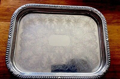 """Large, Heavy, Rectangular SILVER PLATED TRAY with Gallery 18.5"""" X 14"""" Mass 1120g"""