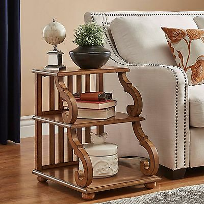 Wood End Table Rustic Display Stand Sofa Chair Side Accent Vintage Antique Oak