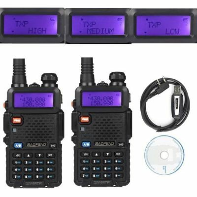 2x Baofeng UV-5RTP 136-174/400-520MHz + 1* USB Tri-Power 1/4/8W Ham 2-way Radio