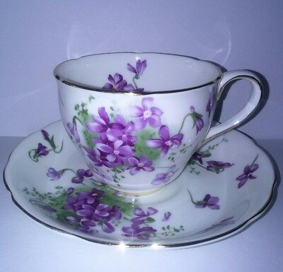 Vintage Hammersley Victorian Violets coffee cup and saucer