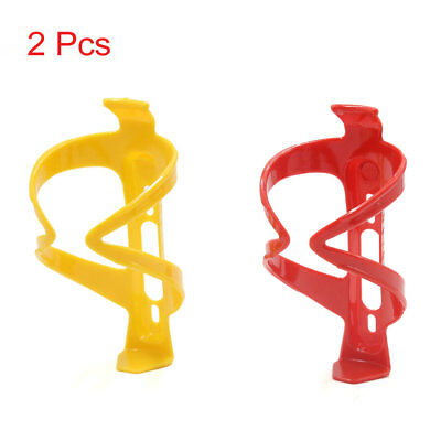 2 Pcs Plastic Bike Bicycle Cycling Water Bottle Cup Rack Cage Holder Red Yellow