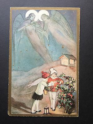 Vintage Italian Christmas Postcard Children & Angels  Signed  Chiostri