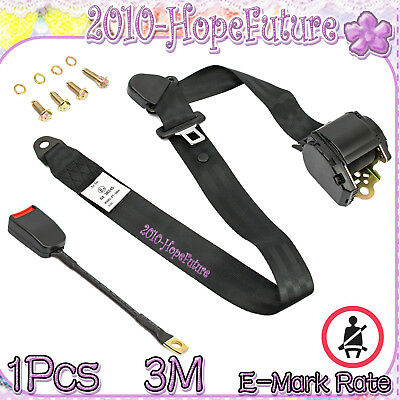 1 PCS Black Universal Retractable Seat Belt 3 Point Auto Car Lap Adjustable Belt