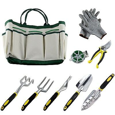 Garden Tool Set Gardening Kit 9 Pieces Plant Rope and a Pair of Work Gloves