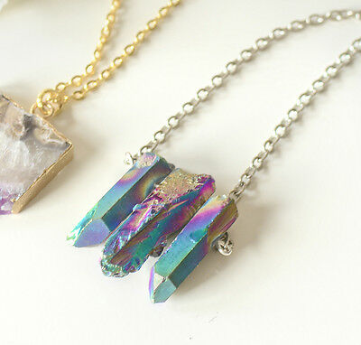Triple Rainbow Crystal Stone Necklace- Vintage SILVER Bohemian-Healing Quartz