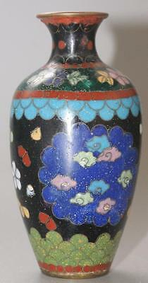 Antique Japanese Oriental Cloisonne Small Vase With Butterfly Decoration