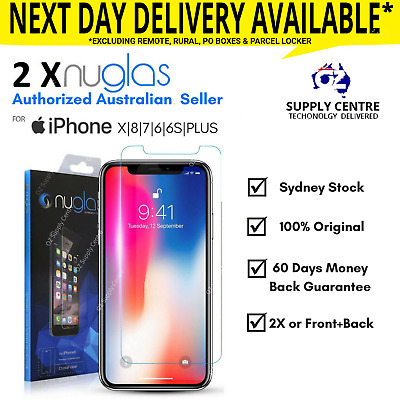 2X NUGLAS iPhone X 8 7 6S 6 Plus Tempered Glass Screen Protector Front back 3D