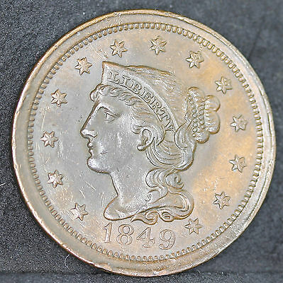 USA. Large Copper Cent, Braided Hair, 1849. Very High Grade With Underlying Lust