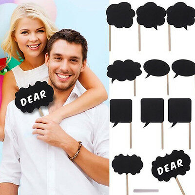 10X Photo Booth Prop Bubble Chalkboard Stick Wedding Party Speech Tools UK