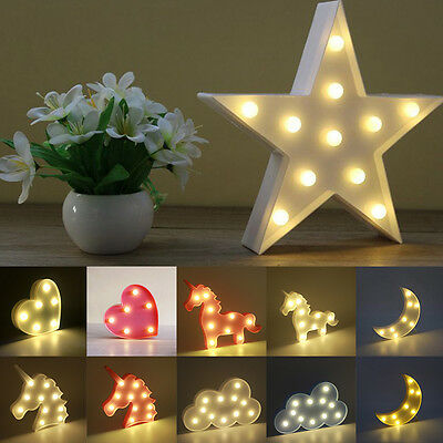 LED Lights Animal Heart Star Light Up Night light Lamp Home Decoration Xmas Gift
