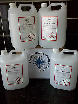 4 x 5 Litre Luxury Pearlised Hand Soap Dispenser Re Fill Liquid Hand Soap