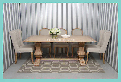 **IN STOCK** NEW French Provincial Hamptons Refectory Pedestal Oak Dining Table