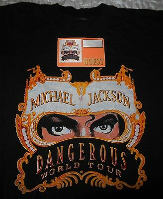 Michael Jackson Dangerous World Tour Pepsi T-Shirt L  + Pass Guest Otto  Vintage