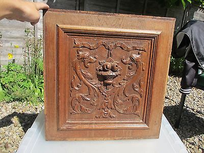 Vintage Wooden Panel Plaque Carved Wood Architectural Antique Gilt Rococo Dragon