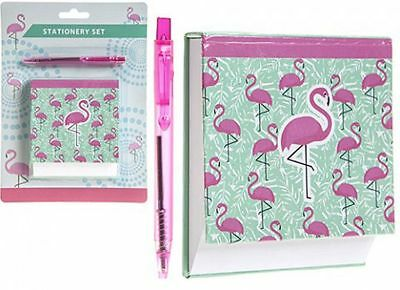 Flamingo Memo Pad & Pink Pen Stationary Set NEW