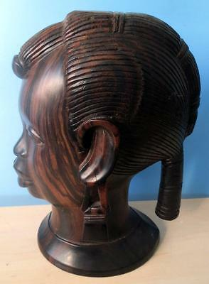 Vintage Wooden Ebony Carved Large African Ethnic Lady Head Bust Figurine
