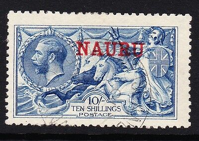 Nauru 1916-23 10/- Pale Blue Sg 23 Good-Fine Used.