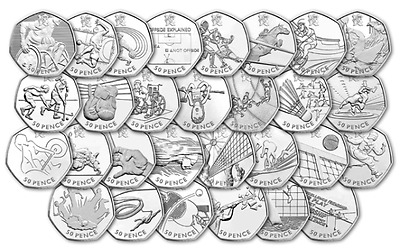 2011 Various (Circulated) Olympics 2012 50p Coins - From £1.00 all in stock !!!!