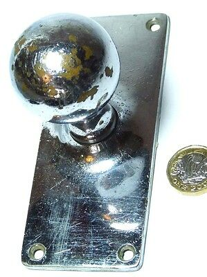 Splendid Vintage Large & Heavy Chromed Brass Art Deco Knob Handle Reclaimed