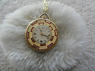 Pretty Lucerne Vintage Swiss Made Wind Up Necklace Pendant Watch - Not Working