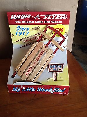 RADIO FLYER  TOY LITTLE RED Wood Sled MINIATURE Unopened Collectible Toy