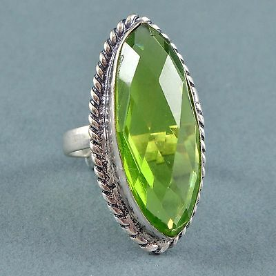 Vintage Ring Large 1970s Faceted Pale Green Crystal Silvertone Bridal Jewellery
