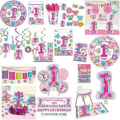 Sweet Pink Butterfly Girl's 1st Birthday Party Supplies Tableware Banner Listing