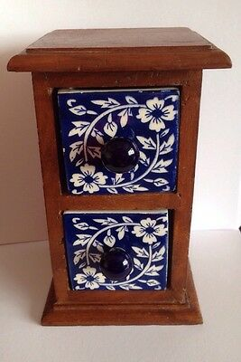 Vintage Wooden Cabinet With Pottery Drawers Ethnic Design