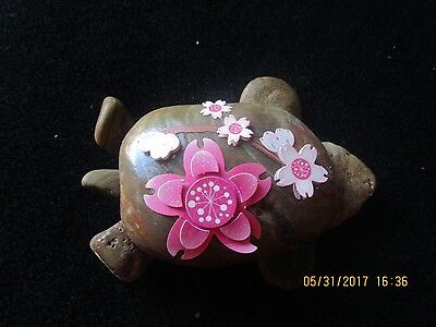 Turtle Rock on Large Polished Stone. Pink/White Raised Flowers on Shell  7 X 5