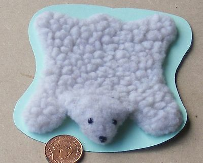 1:12 Scale Handmade Fluffy Faux Bear Skin Rug Doll House Carpet Accessory Type C