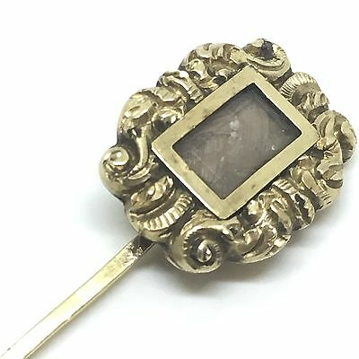 Antique Vintage Mourning C.1920 9ct Gold Detailed Braided Hair Stick Pin Brooch