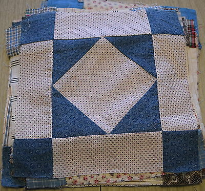 29 1890-1915 Diamond in a Square quilt blocks, beautiful variety of fabrics