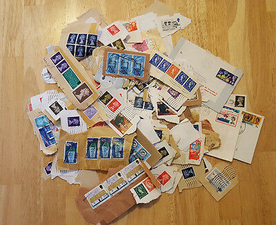 100g+ BRITISH Postage Stamps - On Paper - Job Lot - Decimal & Pre-Decimal