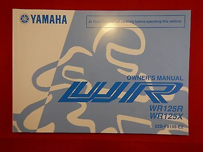 Genuine 2010 Yamaha Wr125R Wr125X Owners Manual 22B-F8199-E2 2011 Wr 125 R X
