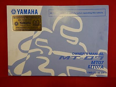 Genuine 2013 2014 Yamaha Mt07 Mt07A Owners Manual 1Ws-28199-E1  Mt-07 Mt-07A