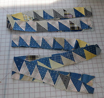 90 1890-1915 half Square Triangle little blocks, lots of cadet blue, easy border
