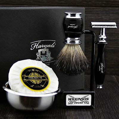 Classic Men's Shaving Set ft DE Safety & Pure Black Badger Brush Gift Kit f/ HIM