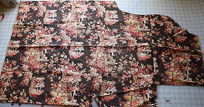 1 yd piece 1880's Cretonne cotton fabric, large scale print children
