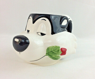 Warner Bros Pepe Le Pew Coffee Mug Tea Cup 3D Applause 1993 Vintage Skunk Rose