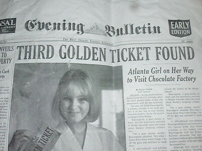 Charlie and the Chocolate factory ORIGINAL PROP Newspaper Golden Ticket found!