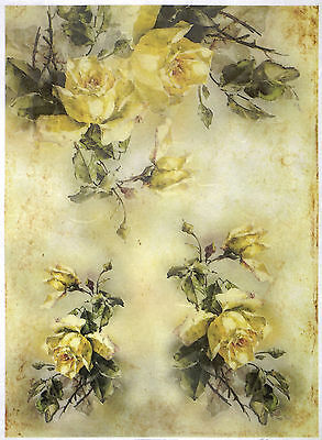 Rice paper -Yellow Roses Bouquets - for Decoupage Scrapbooking Sheet Craft