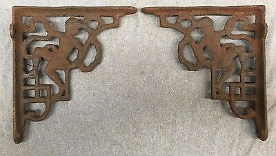 Pair Antique Iron  Shelf Corbels Brackets Shabby Cherub Angel Chic Vtg 123-17J