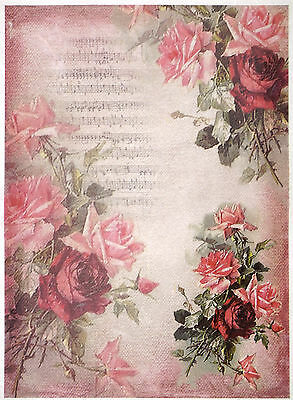 Rice paper -red roses on pink background- for Decoupage Scrapbooking Sheet Craft