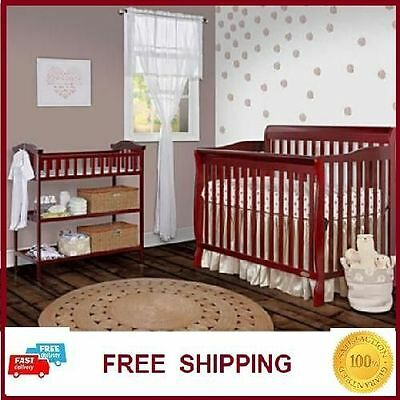 Crib Convertible 5 in 1 Dream Me Bed Changer Toddler Nursery Baby CHERRY NEW