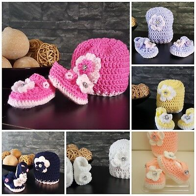 ** New Handmade crochet baby girl hat and booties 0-9 m 6 colours