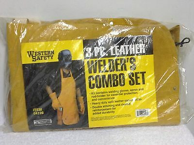 NEW 3 pc Leather Welding Apron Gloves Welder Rod Holder