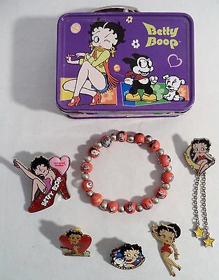Betty Boop Jewelry Lot 6 + Box Pins Bracelet Universal Studios Fleischer Enamel