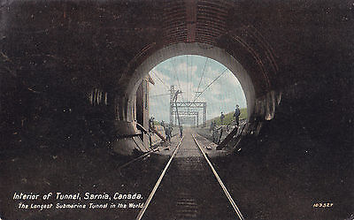 Interior of Submarine Railway Tunnel SARNIA Ontario Canada 1909 Valentine